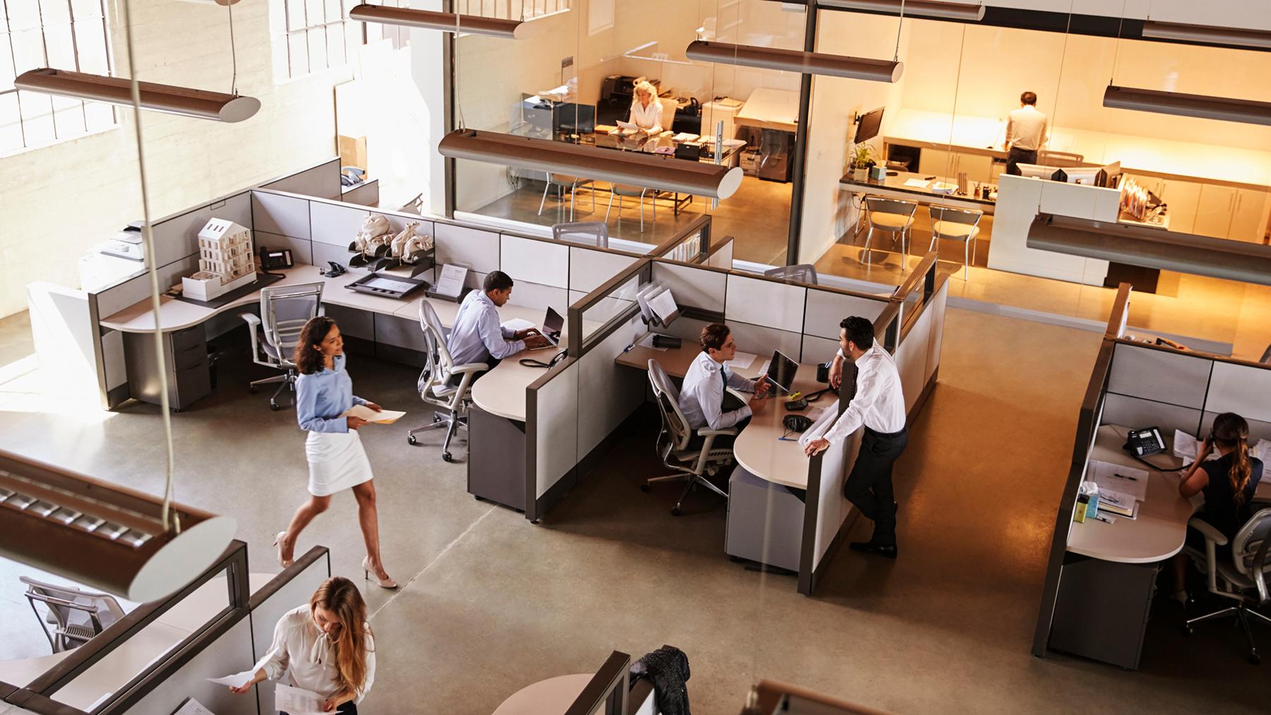 Twee business collega's die aan een bureau zitten en samenwerken. Er ligt papierwerk op tafel en ze gebruiken hun laptop.